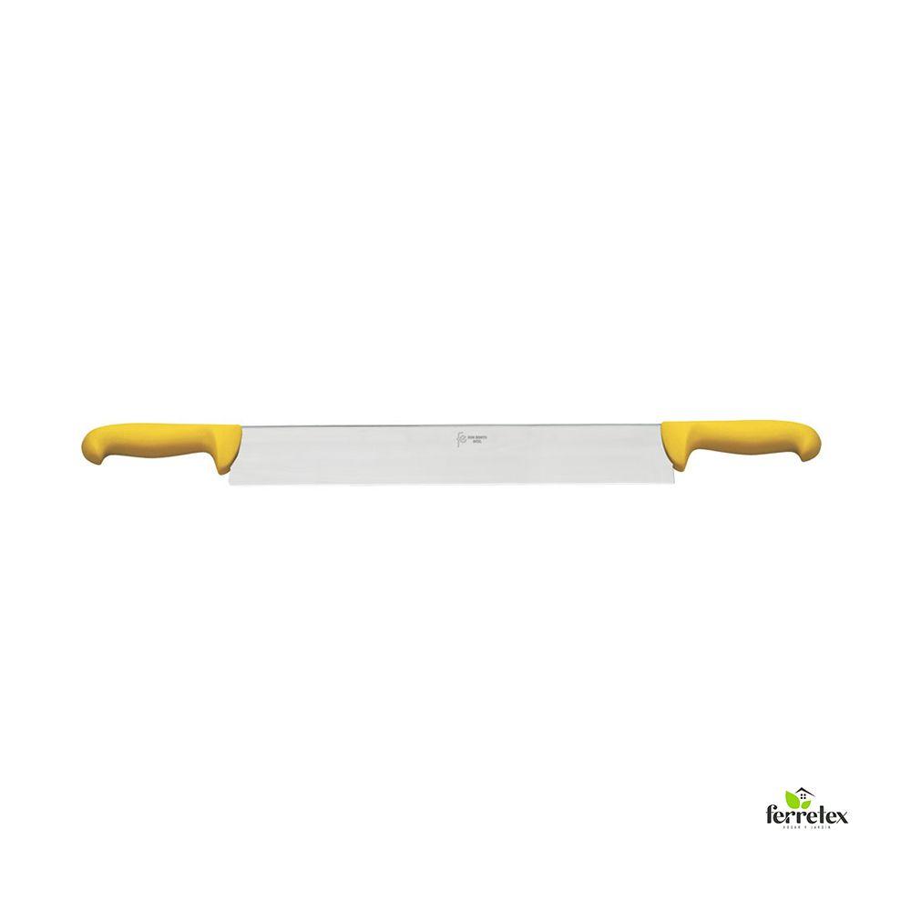 Cuchillo cortar queso 300 mm. inox. dos mangos amarillo ref. 22523